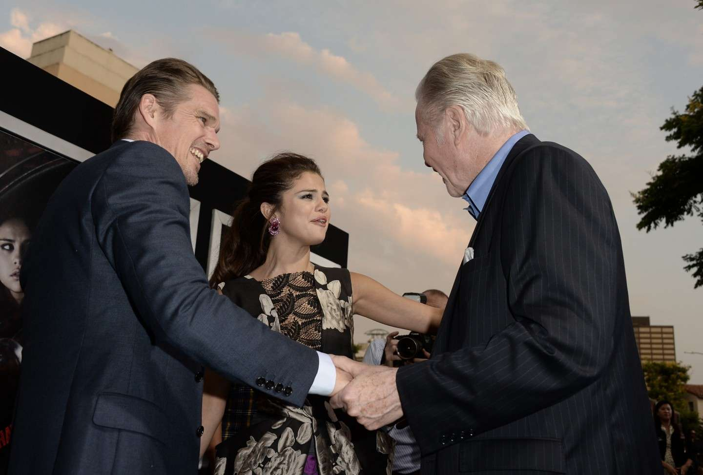 Selena Gomez, Jon Voight, and Ethan Hawke arrive at the premiere of Warner Bros