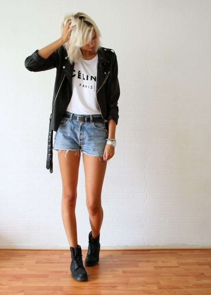 Outfit con shorts di jeans