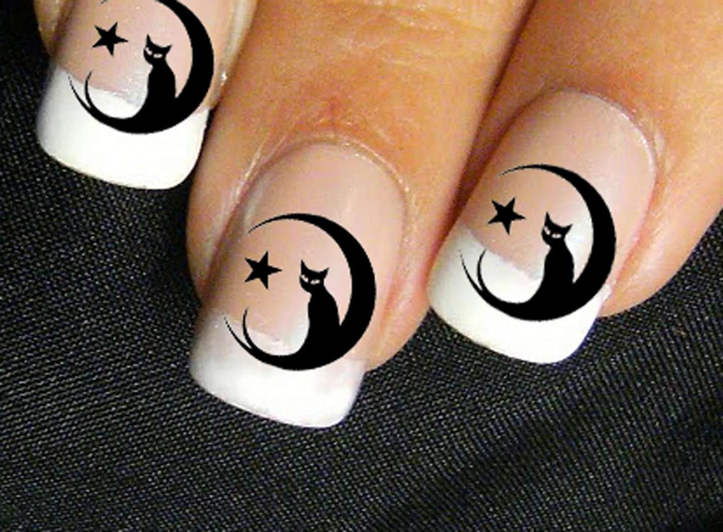 French manicure con gatto e luna