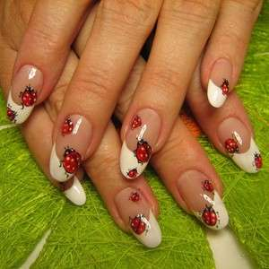 French manicure con coccinelle