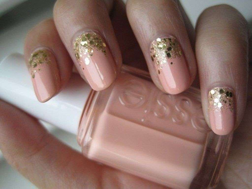 Nail art french reverse con glitter