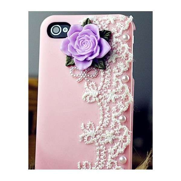 Cover per Iphone con rosa in rilievo