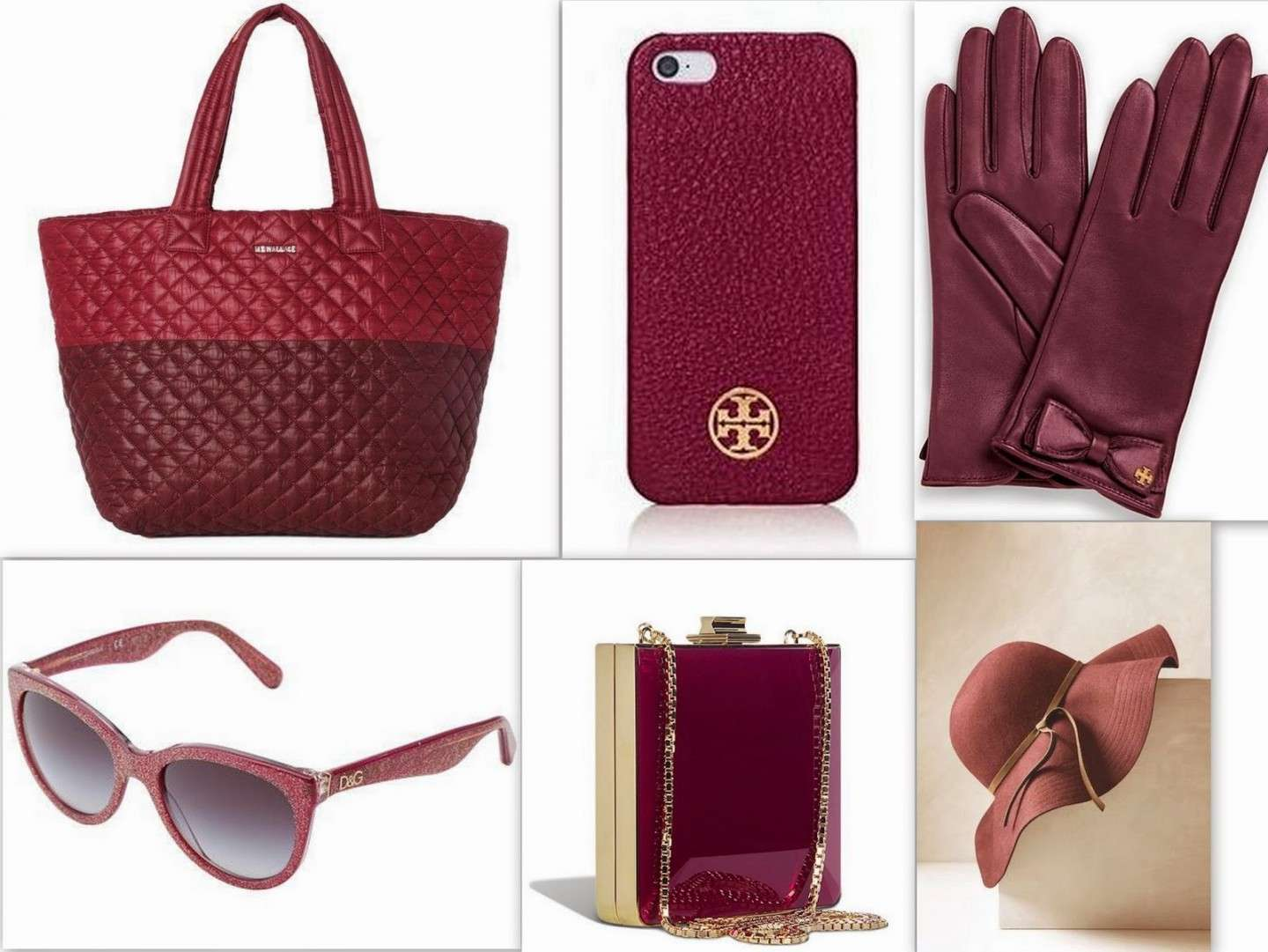 Diversi accessori color Marsala