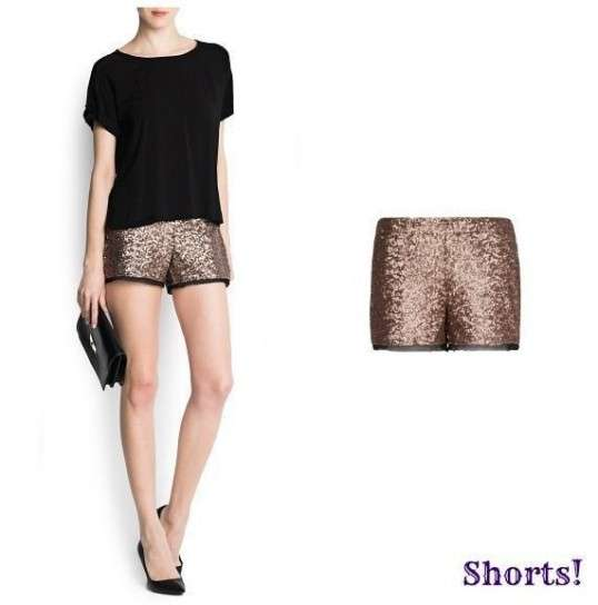 Shorts con paillettes oro