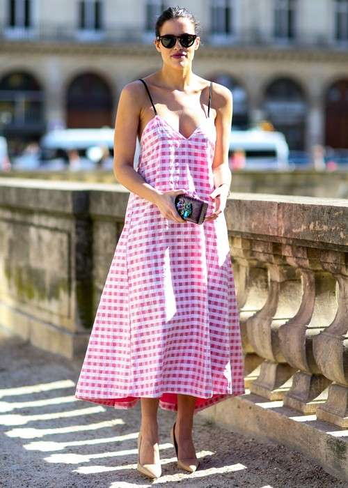 Maxi dress rosa in stampa plaid