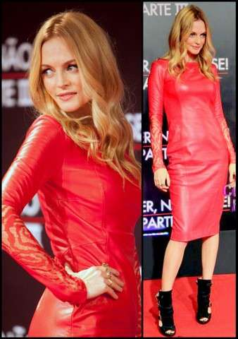 Heather Graham con abito di pelle