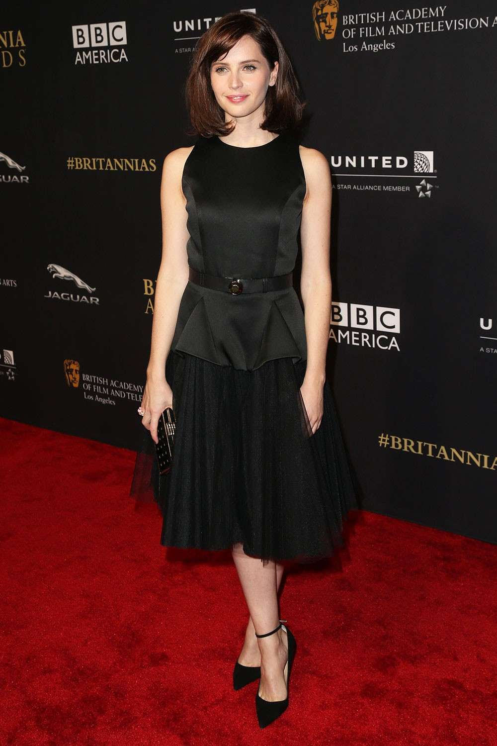 Felicity Jones con abito in tulle nero