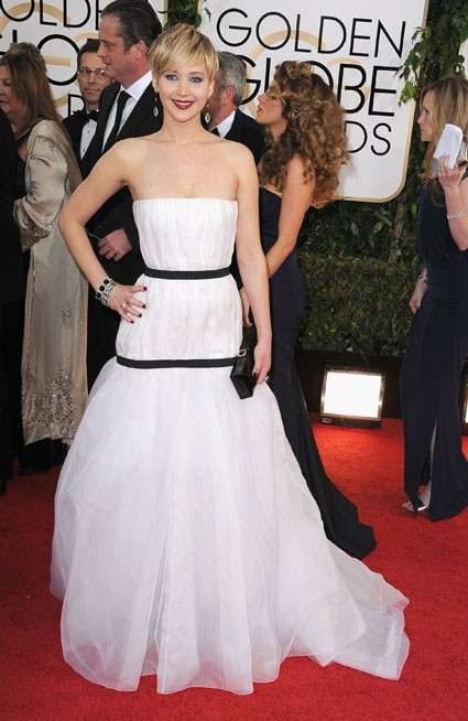 Jennifer Lawrence con abito in tulle bianco