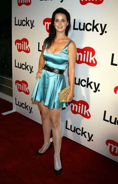 Mini dress di raso azzurro per Katy Perry