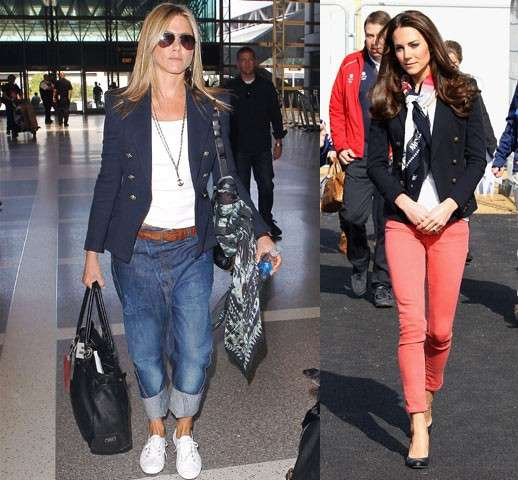 Jennifer Aniston e Kate Middleton con la t-shirt bianca