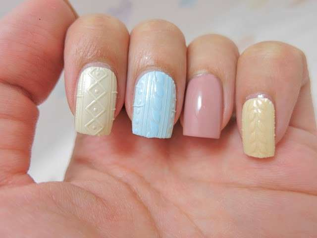 Crochet nail art pastello