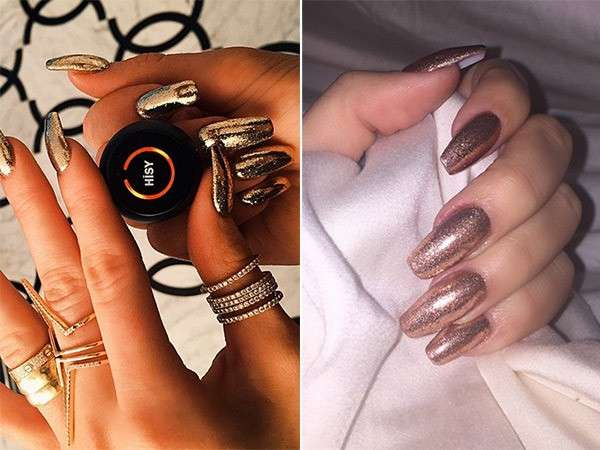 Unghie color oro per Kylie Jenner