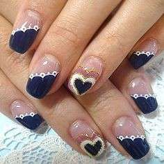 French manicure blu
