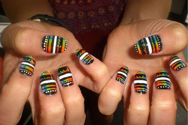 Nail art a strisce optical
