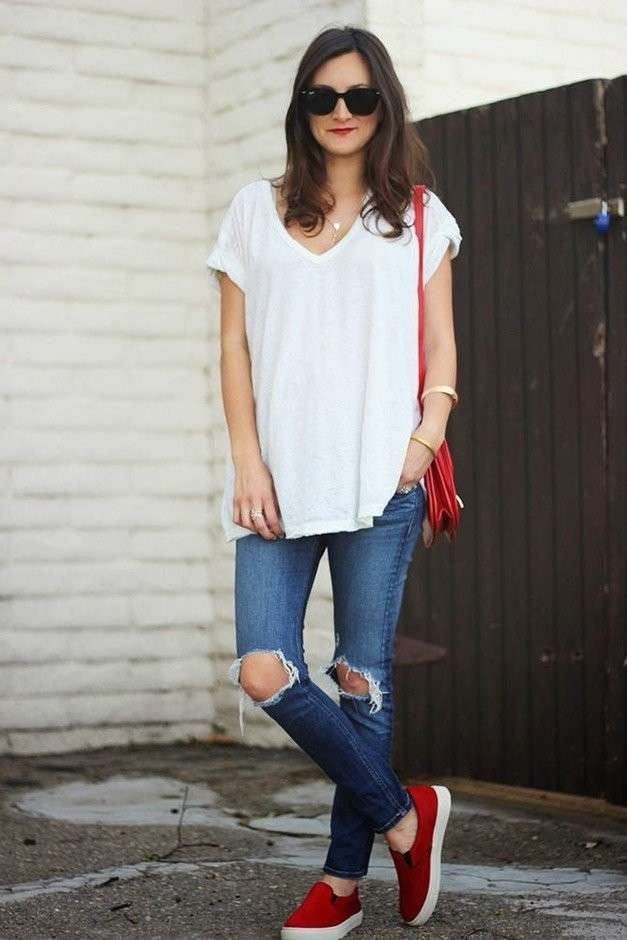 Ripped jeans e slip on