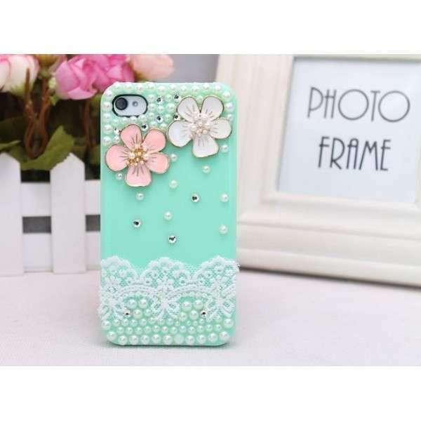 Cover verde Tiffany con perline e fiori