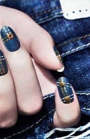 Denim nail art blue