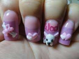 Nail art con cagnolini in 3D