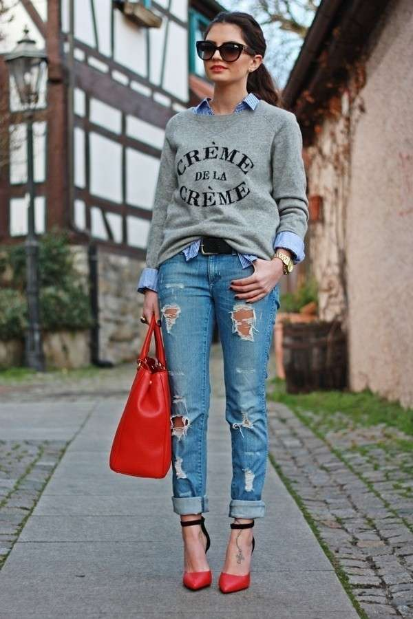 I ripped jeans con le decollete