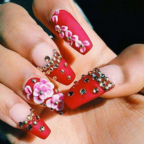 Coffin nail art rossa