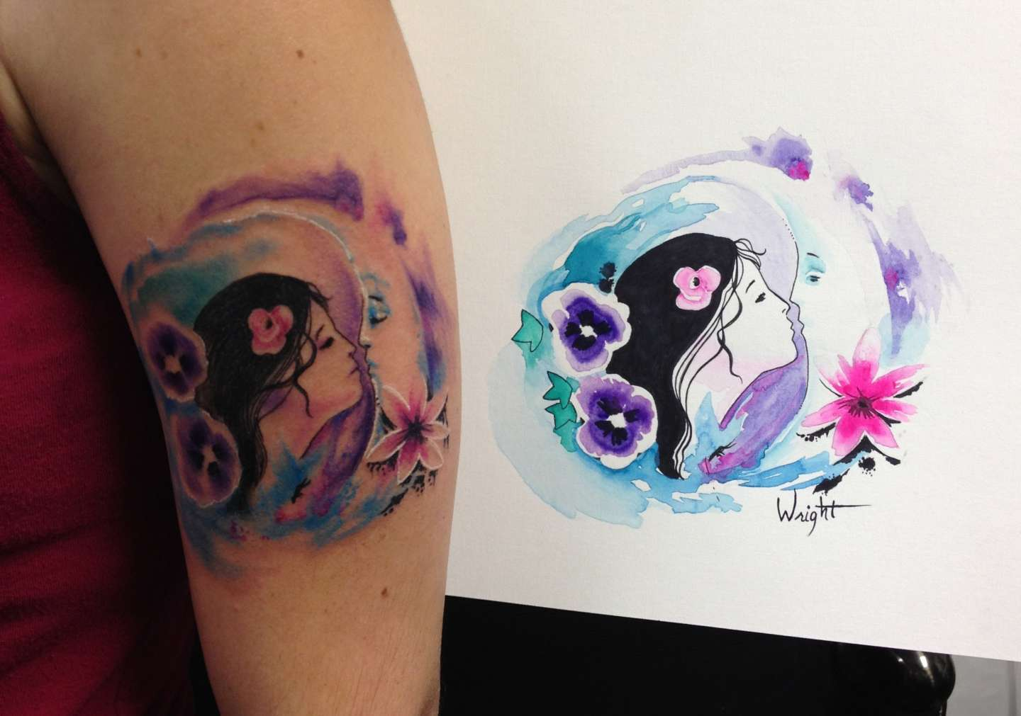 Tatuaggio watercolor romantico