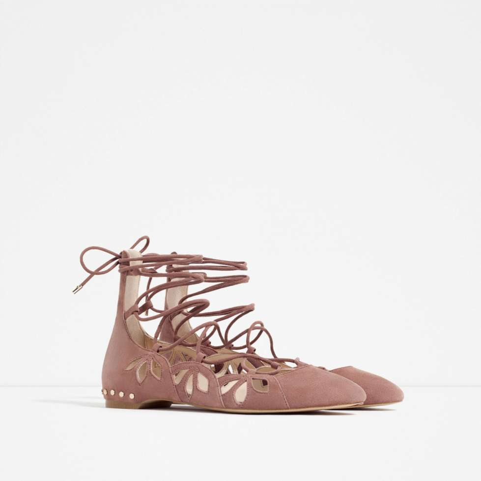 Ballerine lace-up rosa