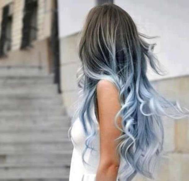 Ombre hair blue denim