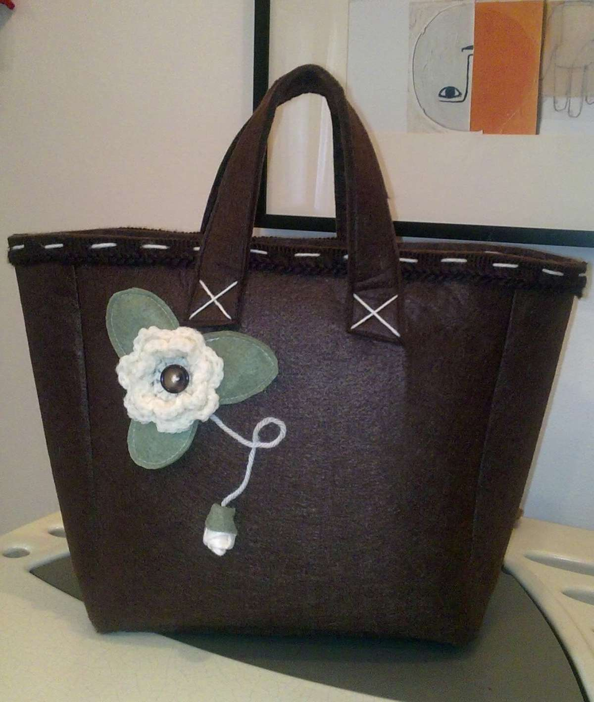 Borsa in feltro marrone