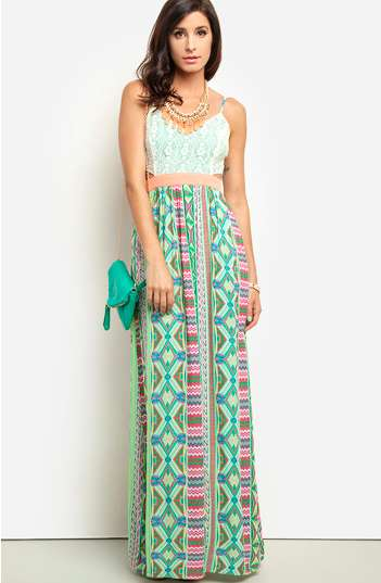 Maxi dress bianco e verde