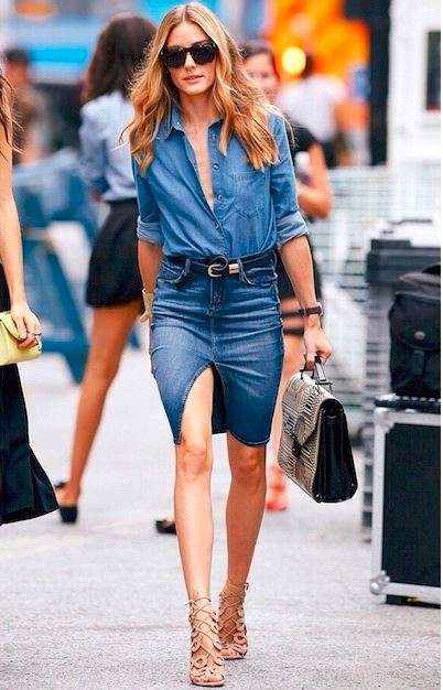 Olivia Palermo con gonna in jeans