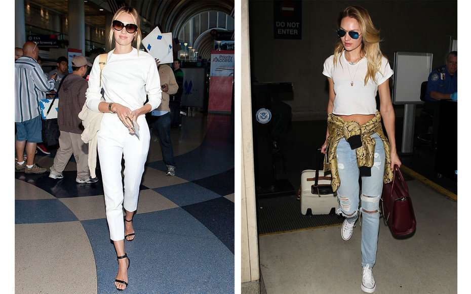 Look sporty chic per Candice Swanepoel in aeroporto