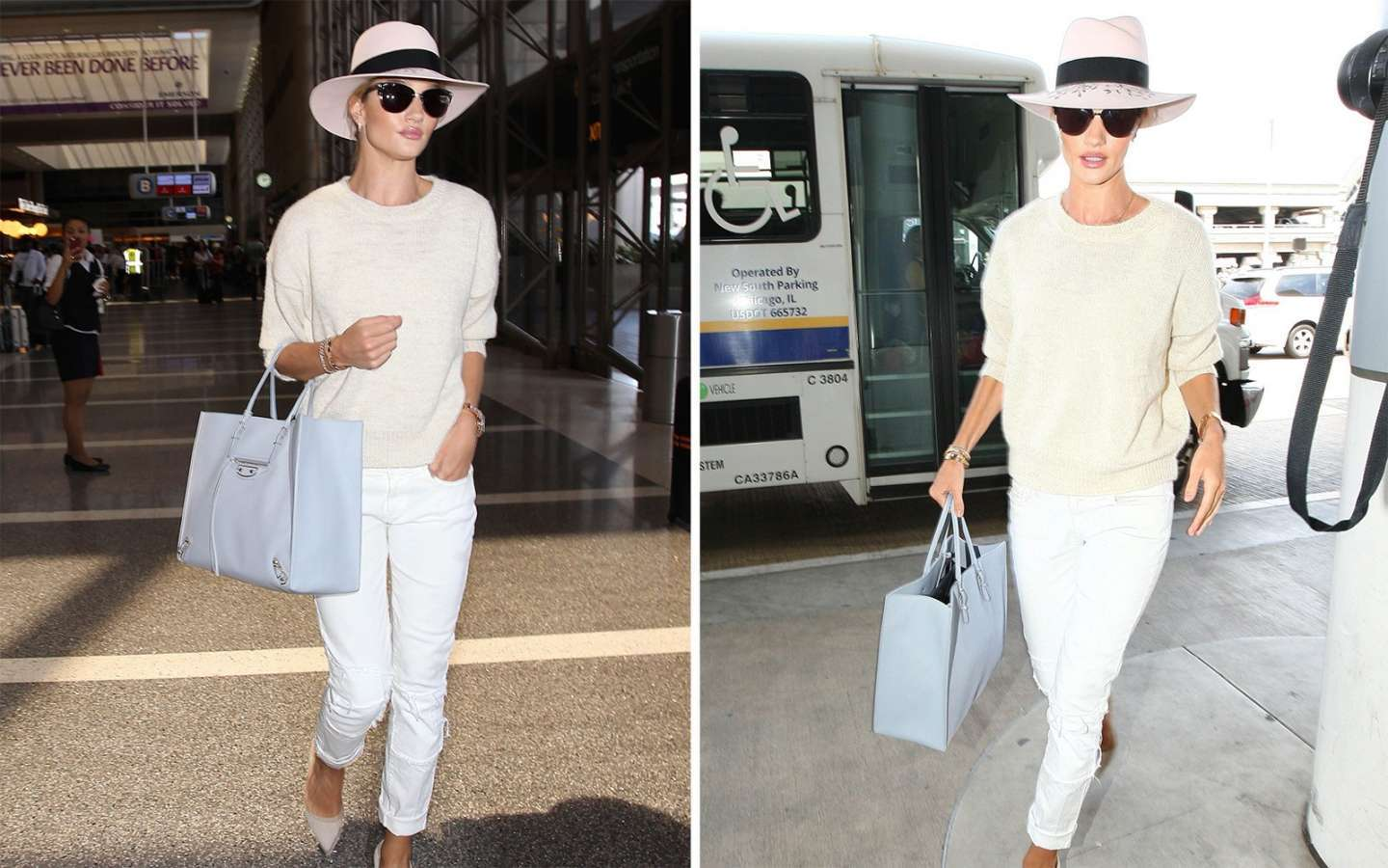 Look total white e cappello per Rosie Huntington-Whiteley in aeroporto