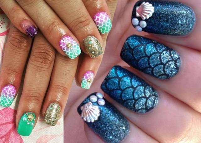 Mermaid nail art per l'estate