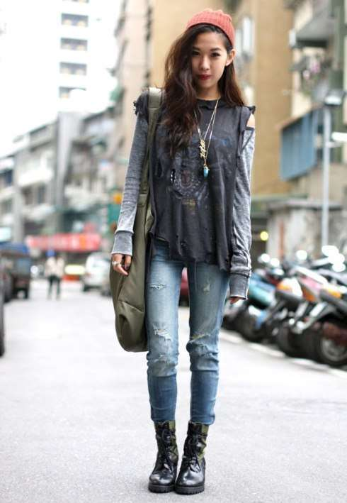 Look grunge con anfibi