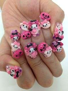 Nail art Kawaii con panda