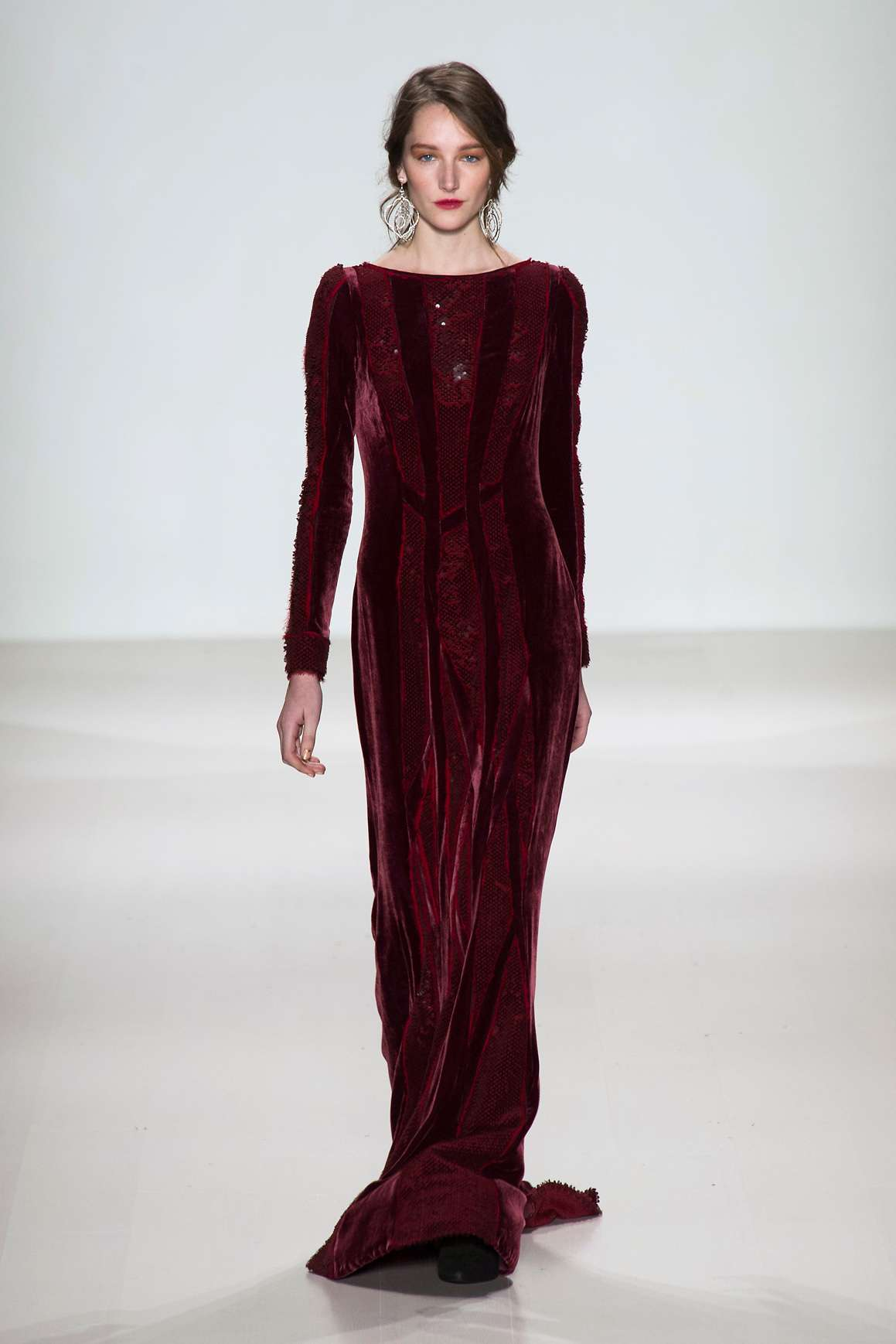 Maxi dress di velluto bordeaux