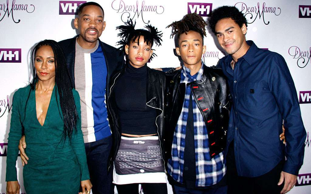 Jada Pinkett e Will Smith con Willow, Jaden Smith e Trey