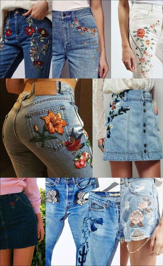 Idee per toppe ricamate sui jeans