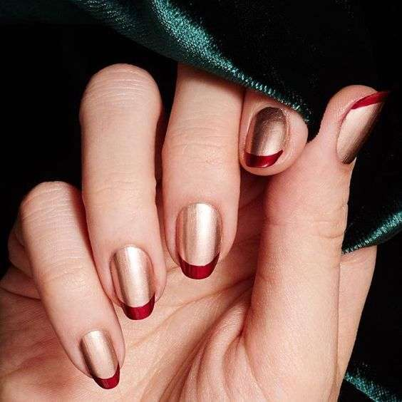 French manicure color rame e rosso