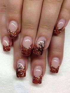 French manicure color rame glitterato