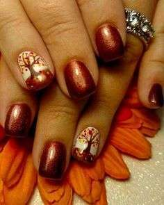 Nail art color rame con decorazione autunnale
