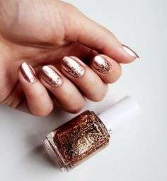 Nail art color rame con glitter