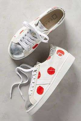 Sneakers bianche a pois