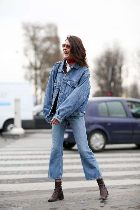 Look in denim con cropped flare jeans