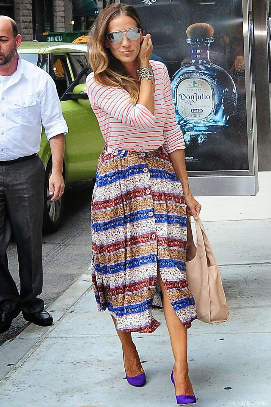 Sarah Jessica Parker con look a righe