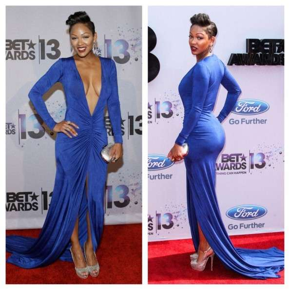 Meagan Good con abito blu super scollato