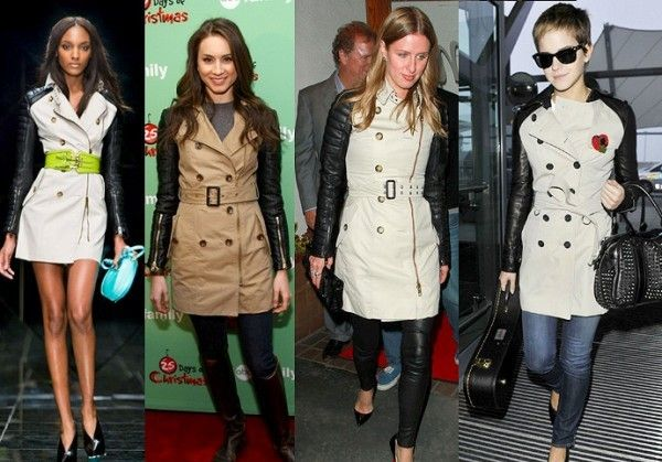 2leather sleeves celebrities trench coat emma watson burberry pretty little liars nicky hilton e1352154767388