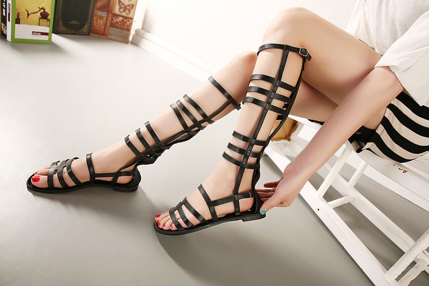 Hot Selling New Fashion 2015 Sexy Knee High Lace Up Cut Outs Flat font b Gladiator